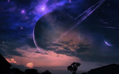 Planets in the night sky wallpaper