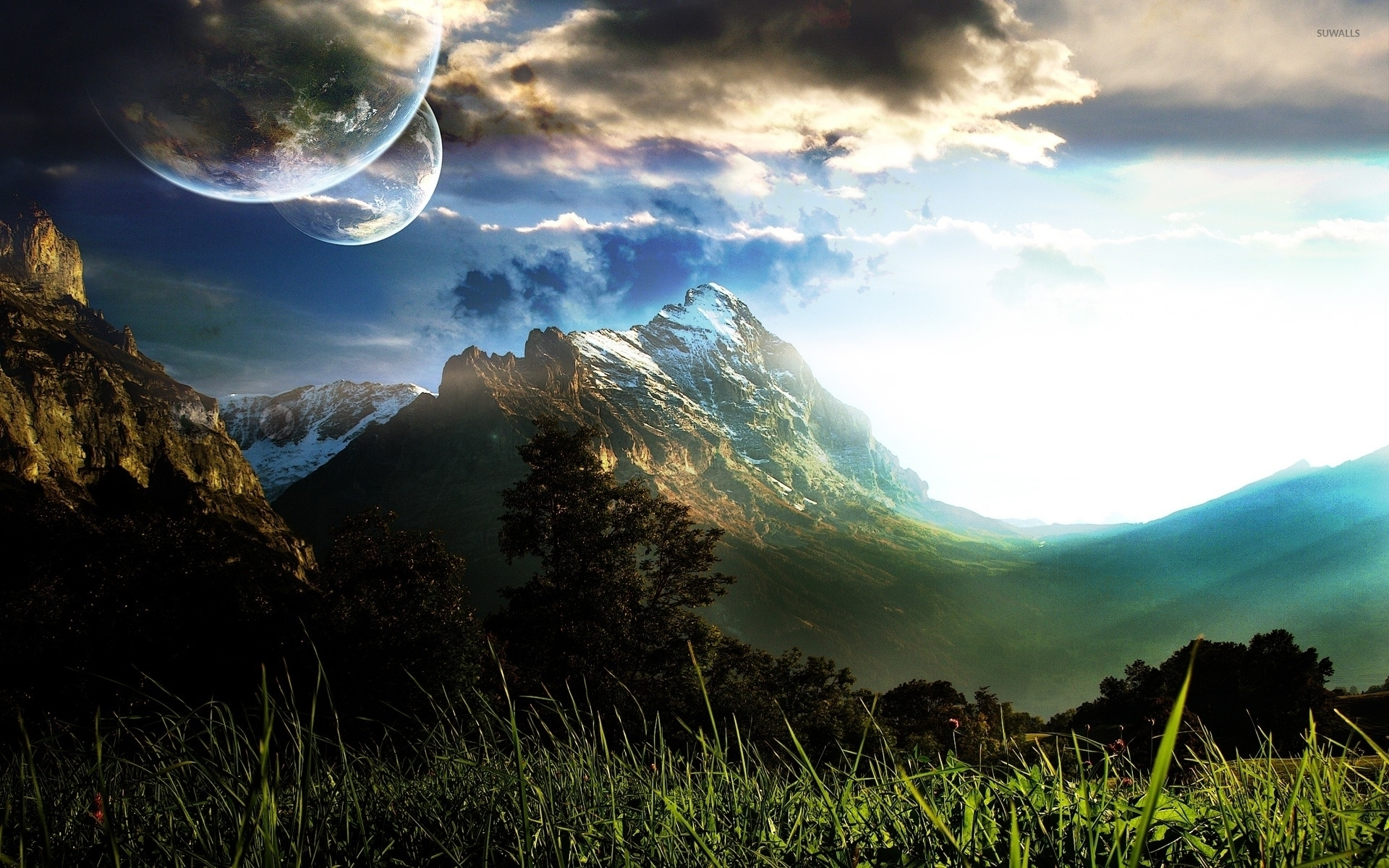 Top Wallpaper Mountain Fantasy - planets-over-the-mountains-4513-1920x1200  Perfect Image Reference_439783.jpg