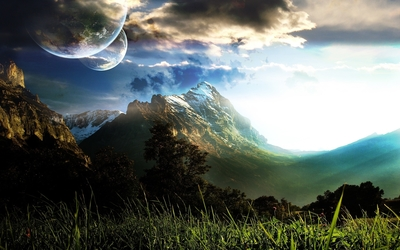 Planets over the mountains wallpaper