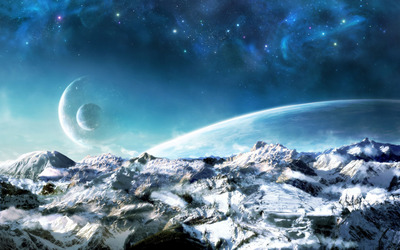 Planets over the snowy mountains wallpaper
