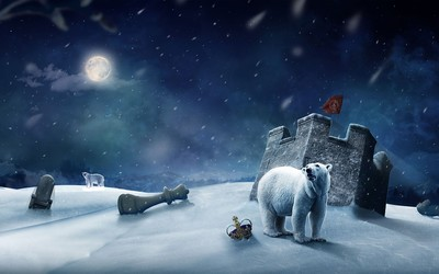 Polar bears at the fort wallpaper