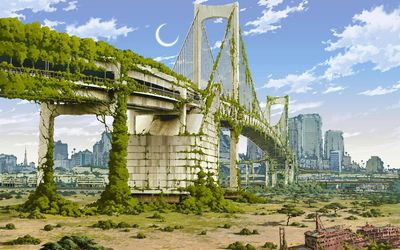 Post-apocalyptic bridge in Tokyo wallpaper