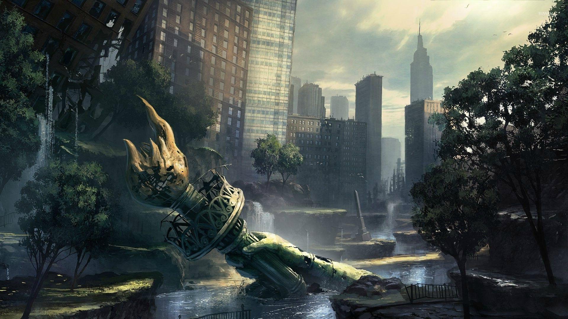 Post Apocalyptic New York City Wallpaper Fantasy