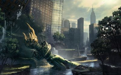 Post apocalyptic New York City wallpaper
