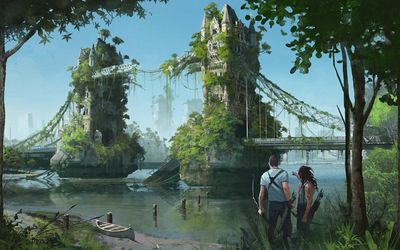 Post apocalyptic Tower Bridge, London Wallpaper