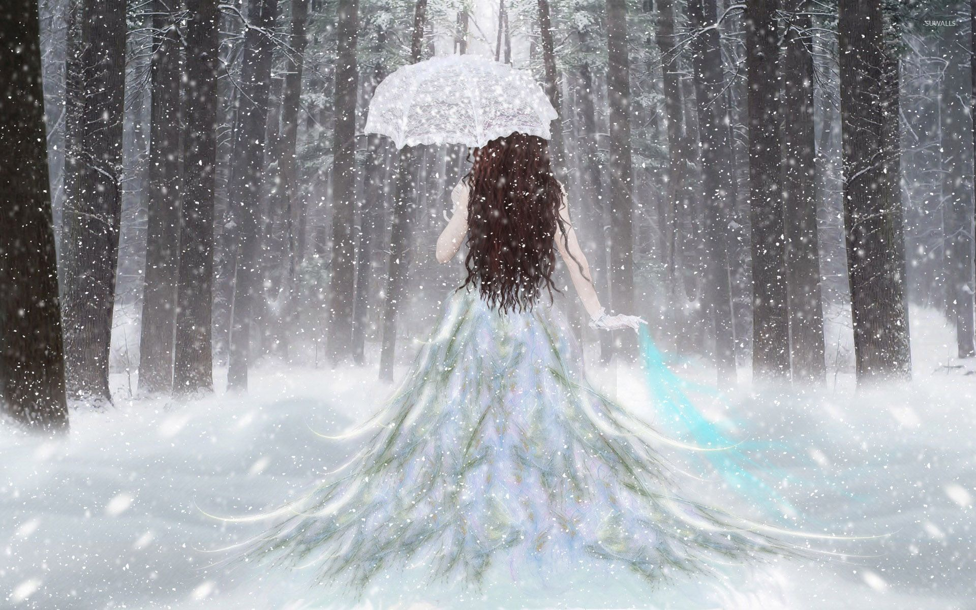 Princess with an umbrella in the snow wallpaper Fantasy