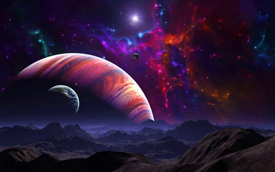 Purple space above the mountains wallpaper