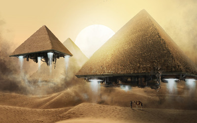 Pyramid spaceships wallpaper