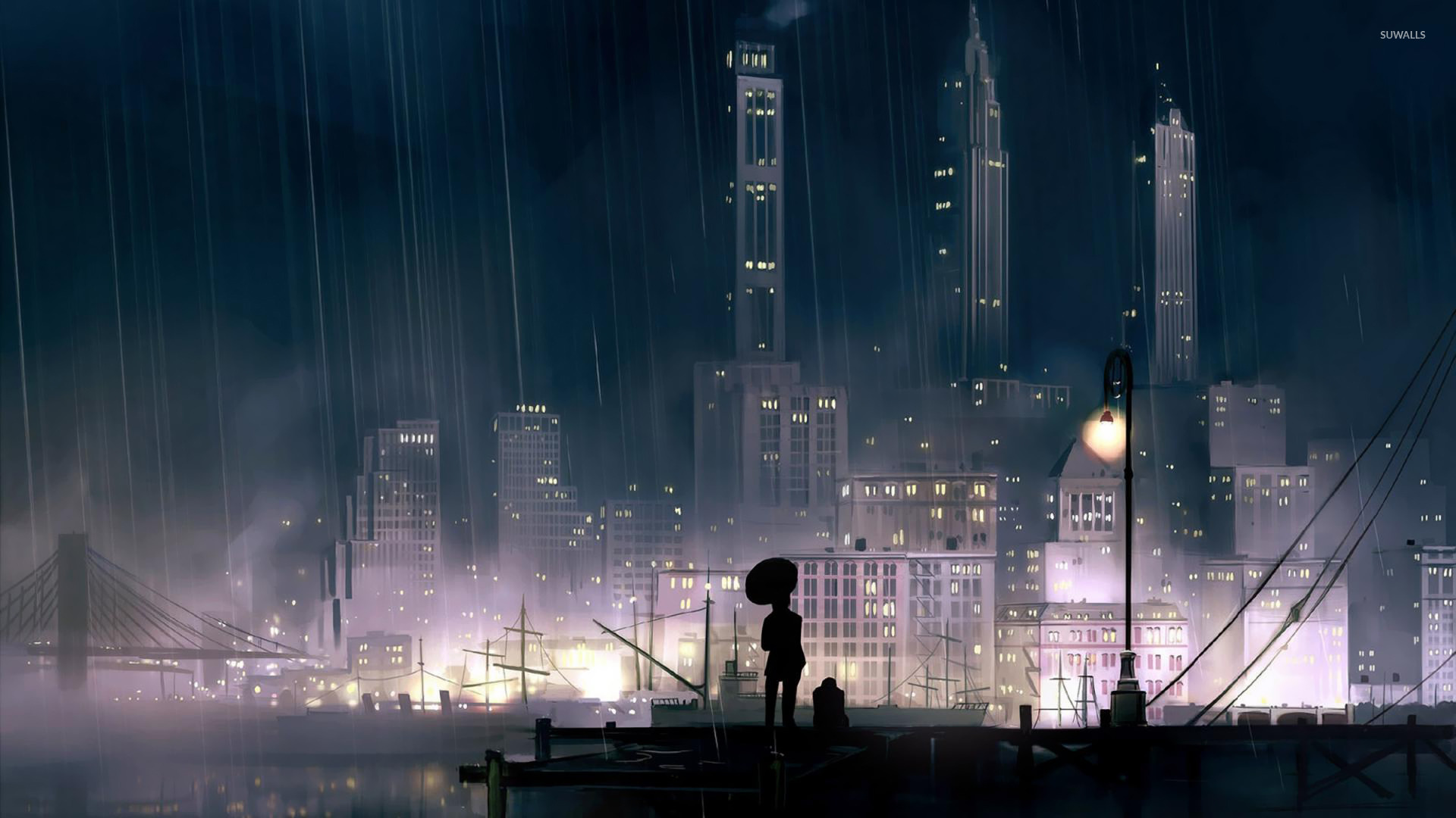 Rainy city at night wallpaper - Fantasy wallpapers - #16438