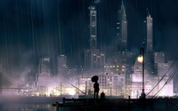 Rainy city at night wallpaper 1920x1080 jpg