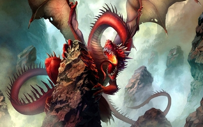 Red dragon on the rocky hill wallpaper