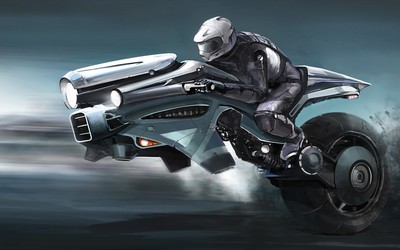 Riding the futuristic bike wallpaper