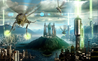 Robot bee invasion wallpaper