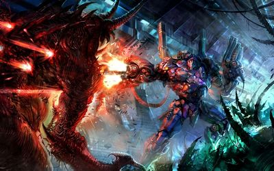 Robot fighting the demon wallpaper