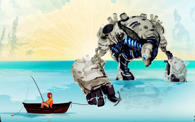 Robot holding the anchor wallpaper