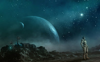 Robot on strange planet wallpaper 2560x1600 jpg