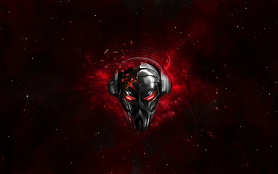 Robot with headphones wallpaper