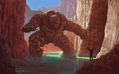 Rock golem in the canyon wallpaper
