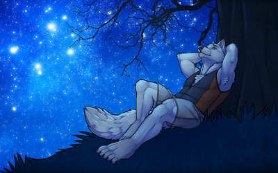 Romantic werewolf gazing at the starry sky wallpaper