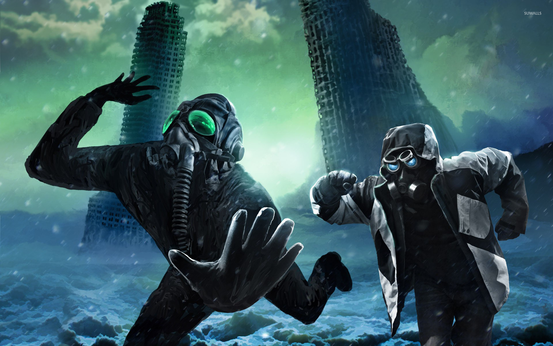Running Away With Gas Masks Wallpaper Fantasy Wallpapers