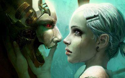 Sad girl looking at the cyborg mask wallpaper