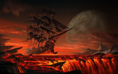 Sailing on lava wallpaper