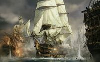 Sailing ships in the battle wallpaper 1920x1200 jpg