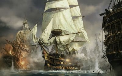 Sailing ships in the battle wallpaper