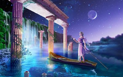 Sailing toward the waterfall wallpaper