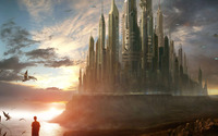 Sci-Fi castle in the light wallpaper 1920x1080 jpg