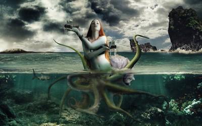 Sea creature capturing the ships Wallpaper