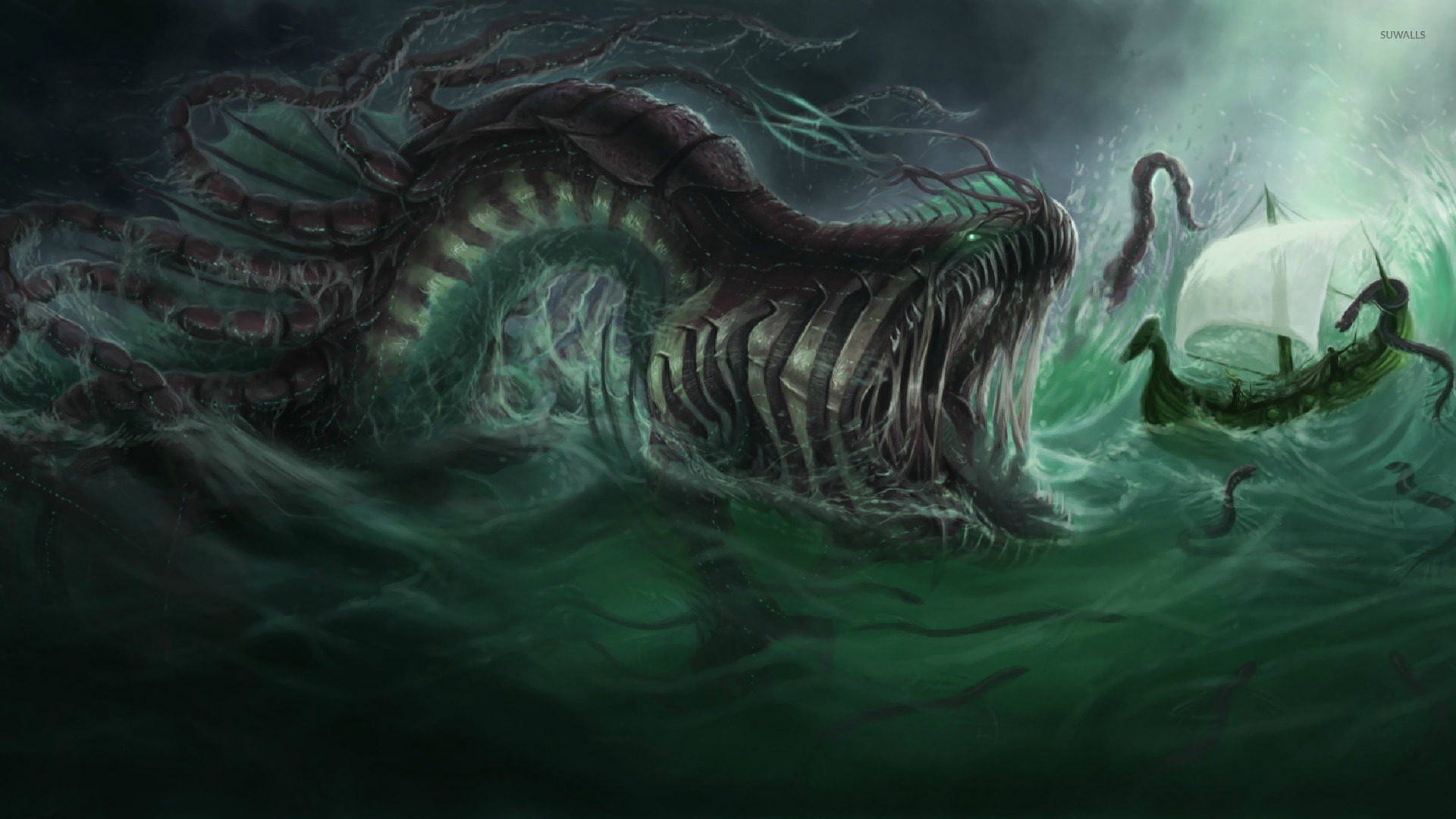 Sea monster 2 wallpaper fantasy wallpapers 16428 sea monster 2 wallpaper voltagebd Images