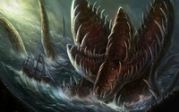 Sea monster attacking the sailing ship wallpaper 1920x1080 jpg
