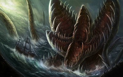 Sea monster attacking the sailing ship wallpaper
