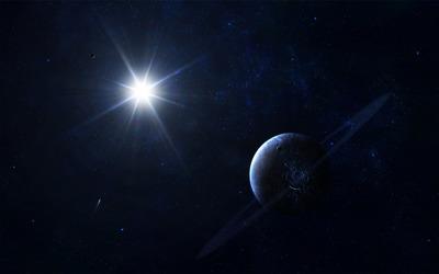 Shining star in space wallpaper