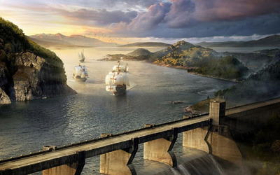Ships near the dam wallpaper