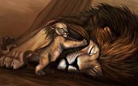 Simba trying to wake up Mufasa wallpaper 2560x1440 jpg