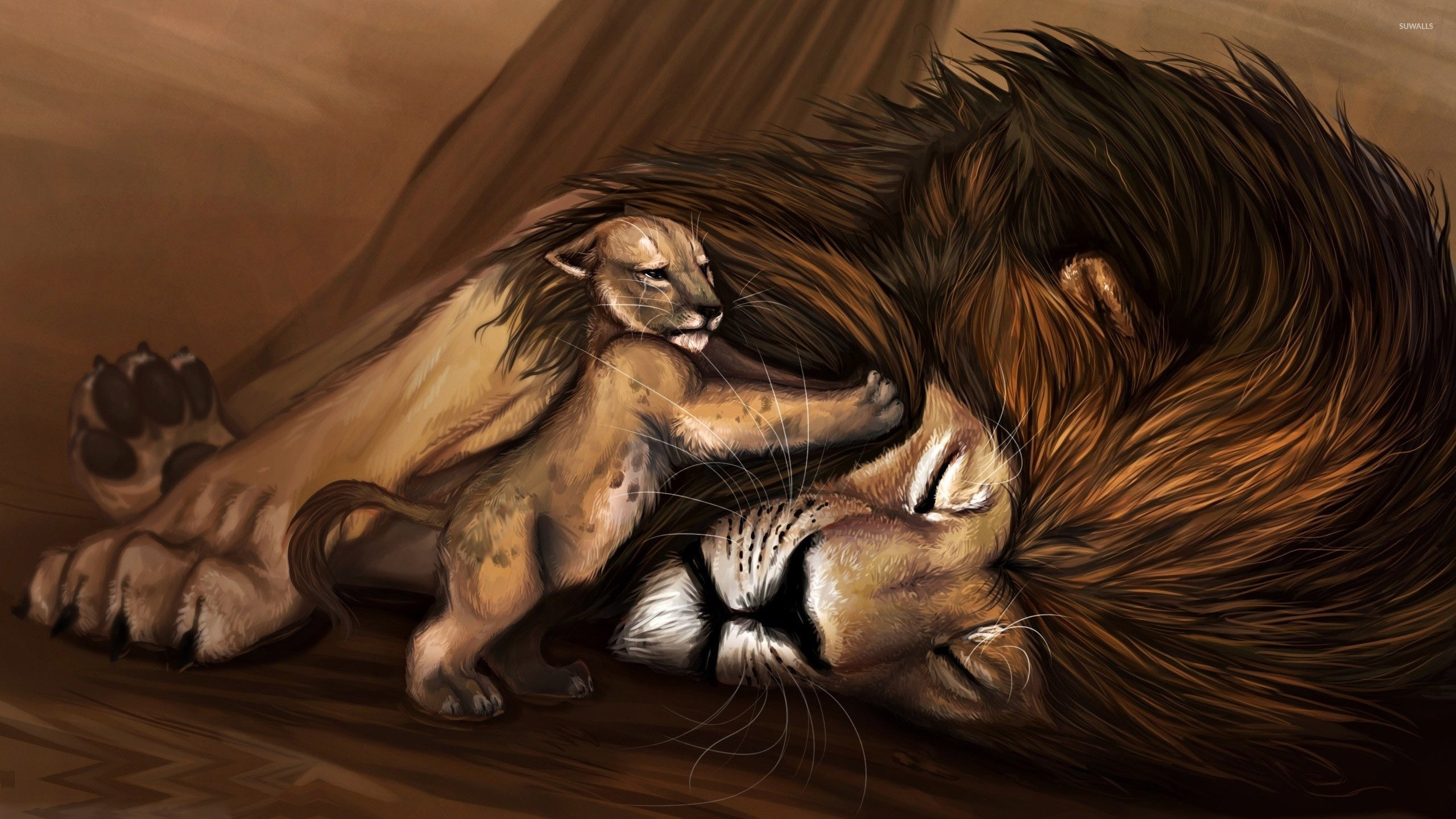 Simba Trying To Wake Up Mufasa Wallpaper Fantasy The Lion King
