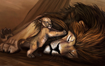 Simba trying to wake up Mufasa wallpaper