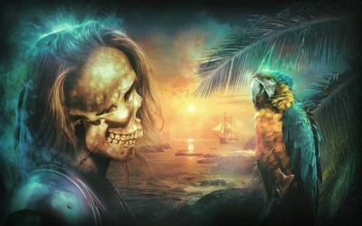 Skeleton pirate looking at a macaw wallpaper