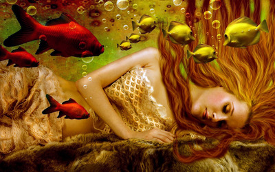 Sleeping mermaid wallpaper
