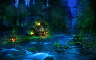 Small riverside hut in the forest wallpaper