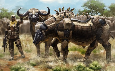 Soldier with robot buffalo herd wallpaper