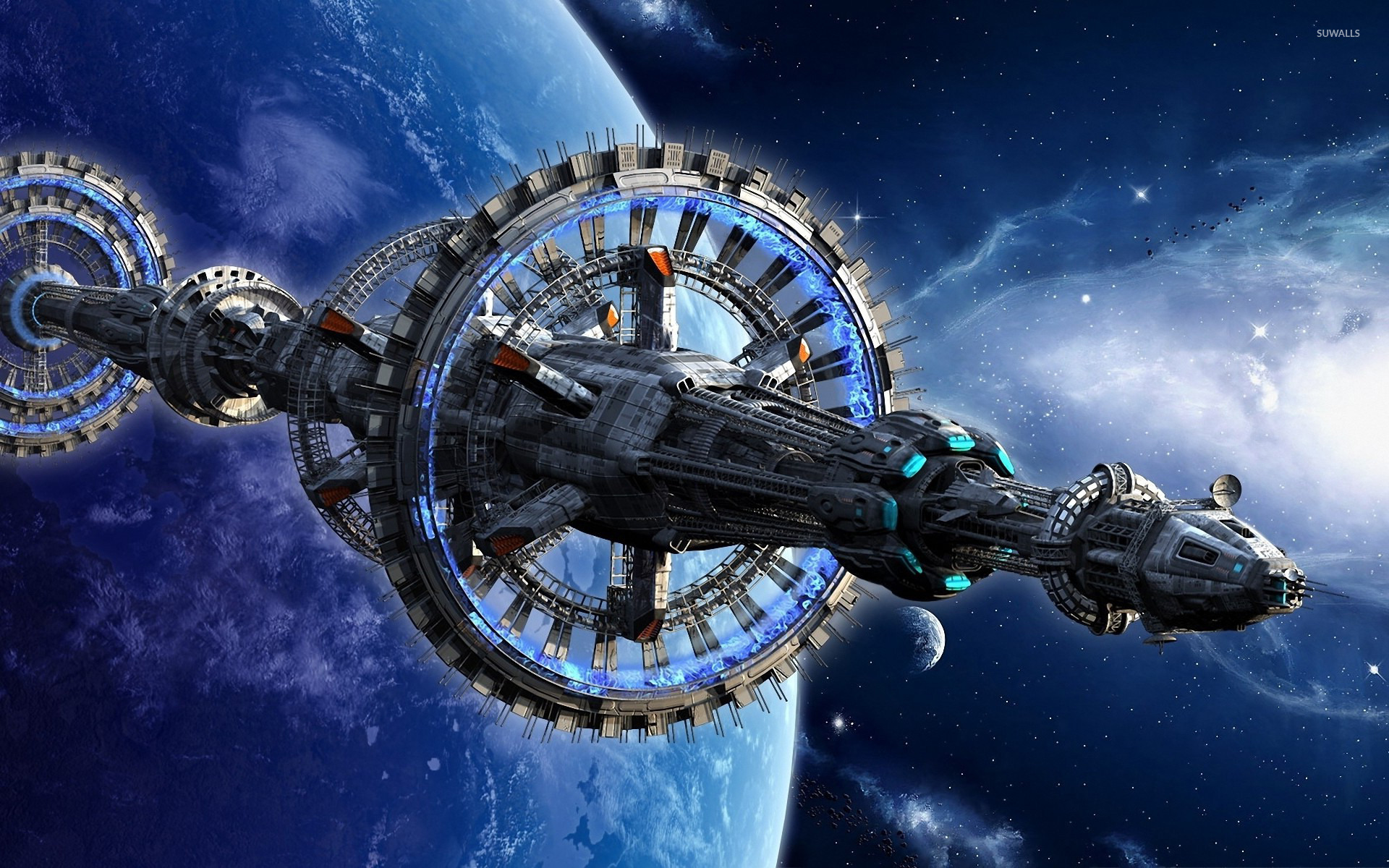 space station near blue planet wallpaper - fantasy wallpapers - #38563