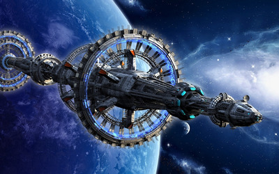 Space station near blue planet wallpaper