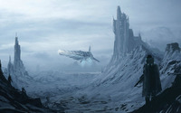 Spacecraft in the snowy mountains wallpaper 1920x1200 jpg