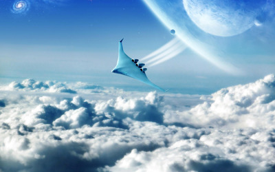 Spaceship above the clouds wallpaper