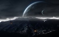 Spaceship attacking the planet wallpaper 1920x1200 jpg