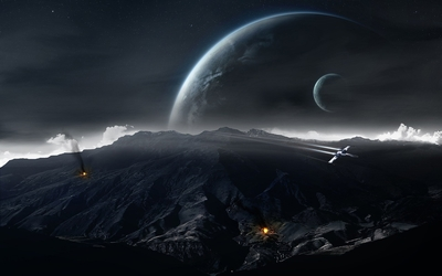 Spaceship attacking the planet wallpaper