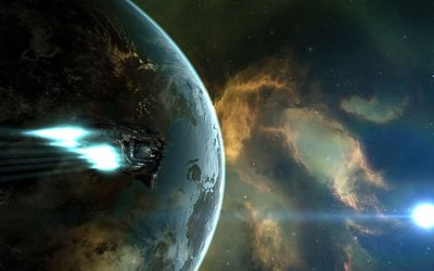 Spaceship flying to the nebula wallpaper